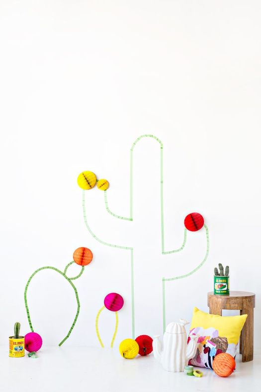 diy washi tape cactus wall art studio diy